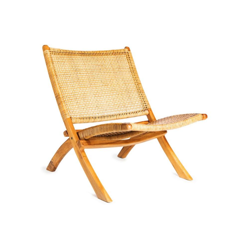 Hnedá stolička s konštrukciou z teakového dreva a výpletom z ratanu Simla Fold
