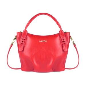 Červená kožená kabelka Lampoo Grana