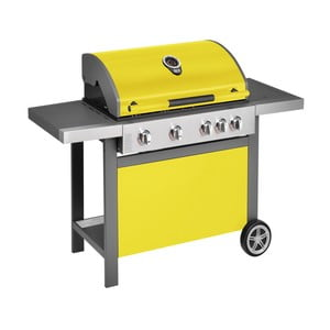 Žltý plynový gril so 4 samostatne ovládateľnými horákmi, teplomerom a bočným ohrievačom Jamie Oliver BBQ