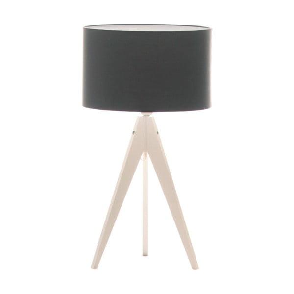 Čierna stolová lampa Artist, biela lakovaná breza, Ø 33 cm