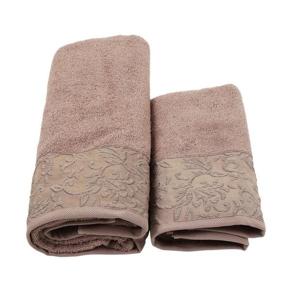 Hnedý set županu, uteráka a osušky zo 100% bavlny Crespo, veľ. M / L