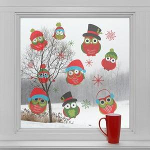 Elektrostatické vianočné samolepky Vianočné sovičky
