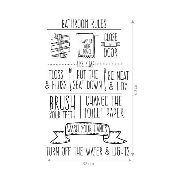 Vinylová samolepka na stenu Bathroom Rules