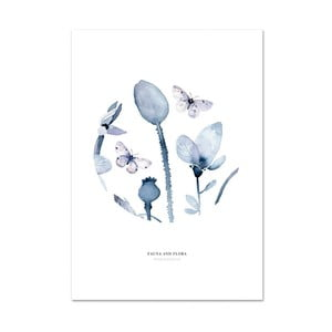 Plagát Leo La Douce Poppies & Butterflies I, 21 x 29,7cm