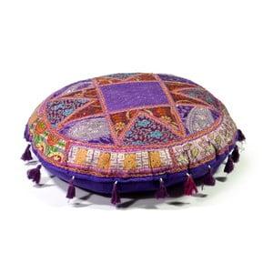 Ručne vyšívaný meditačný vankúš Rajastan, fialový