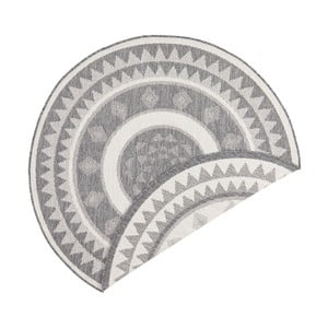 Sivo-krémový obojstranný koberec vhodný aj do exteriéru Bougari Jamaica, ⌀ 140 cm