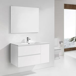 Kúpeľňová skrinka s umývadlom a zrkadlom Happy, odtieň bielej, 100 cm