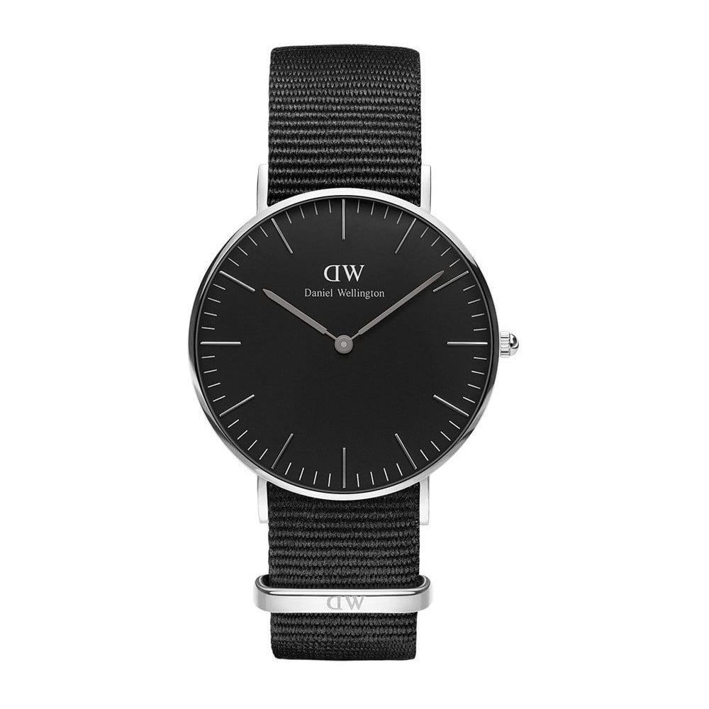 Čierne unisex hodinky Daniel Wellington Conrwall Silver, ⌀ 36 mm