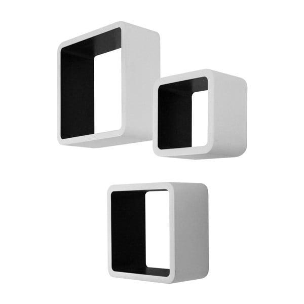 Sada 3 čierno-bielych nástenných políc Intertade Cubo