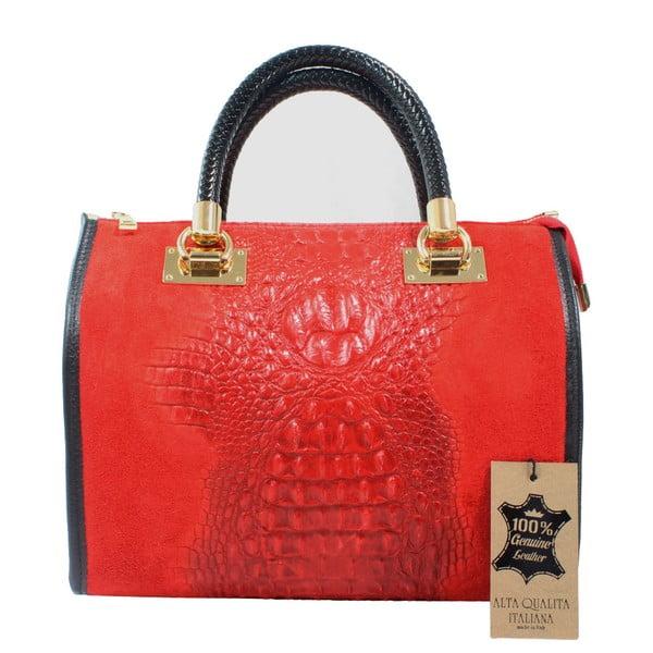 Červená kožená kabelka Chicca Borse Signora