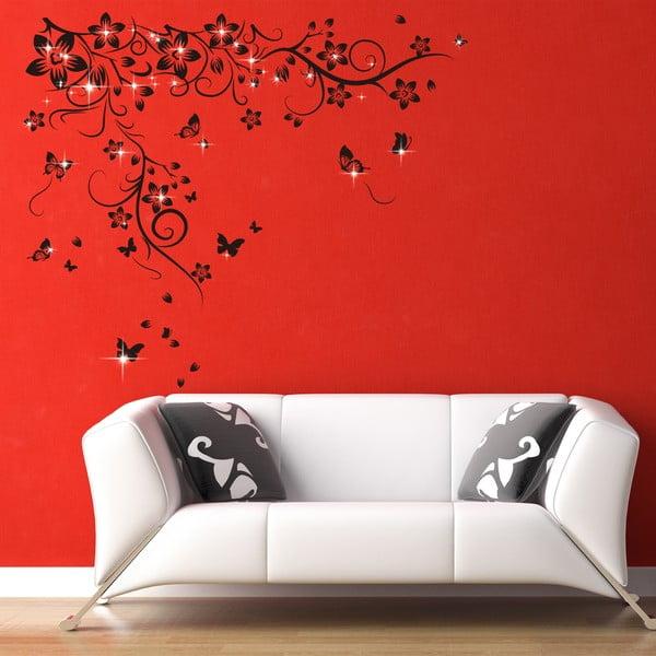 Samolepka na stenu Kŕdeľ motýlikov so Swarovski kamienkami