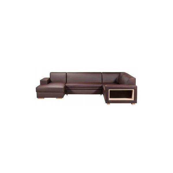 Rozkladacia pohovka A-Maze s úložným priestorom 305 cm, čokoláda, ľavá strana