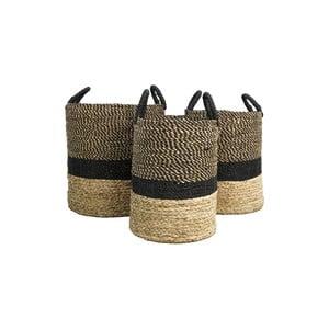 Sada 3 úložných košíkov z vodného hyacintu HSM collection Natural Black