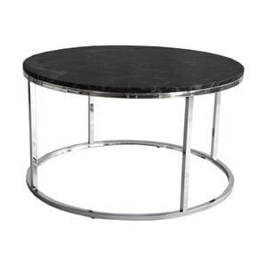 Čierny žulový konferenčný stolík s chrómovanou podnožou RGE Accent, ⌀ 85 cm