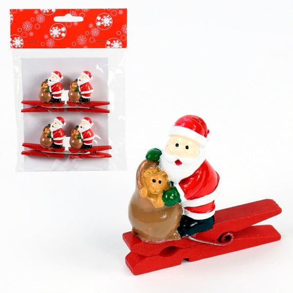 Sada 4 štipcov s vianočným motívom Unimasa Santa Claus