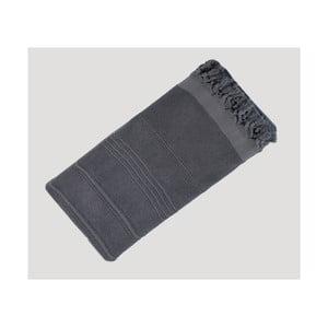 Tmavosivá ručne tkaná osuška z prémiovej bavlny Homemania Turkish Hammam, 90×180cm