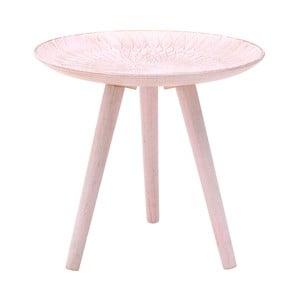 Ružový odkladací stolík z brezového dreva InArt Antique, ⌀ 40 cm