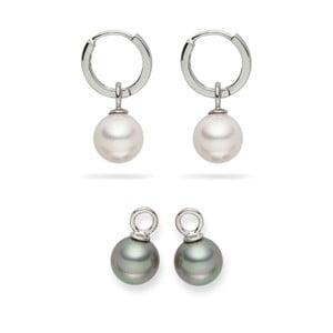 Sada 2 perlových náušnic Pearls of London Eirené White and Silver Grey