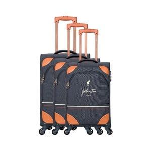 Sada 3 sivých cestovných kufrov na kolieskách GENTLEMAN FARMER Trippy