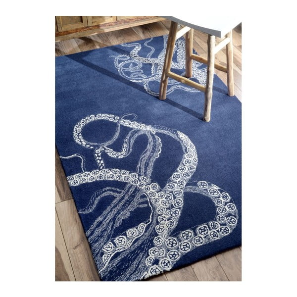 Ručne tuftovaný koberec nuLOOM Deep Navy, 152x244 cm