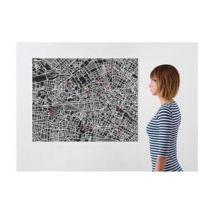 Čierna nástenná mapa Palomar Pin Berlín
