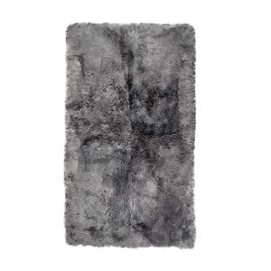Sivý obdĺžnikový kožušinový koberec s krátkym vlasom, 165 x 100 cm