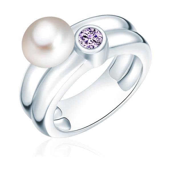 Prsteň s perlou a zirkónom Nova Pearls Copenhagen Lynkeus, veľ. 58