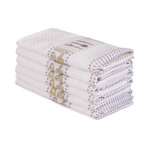 Sada 6 béžových bavlnených uterákov Beyaz Cantajo, 30×50 cm