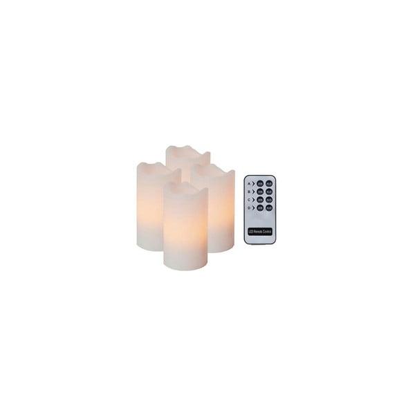 Sada 4 LED sviečok s diaľkovým ovládačom Best Season White Wachs