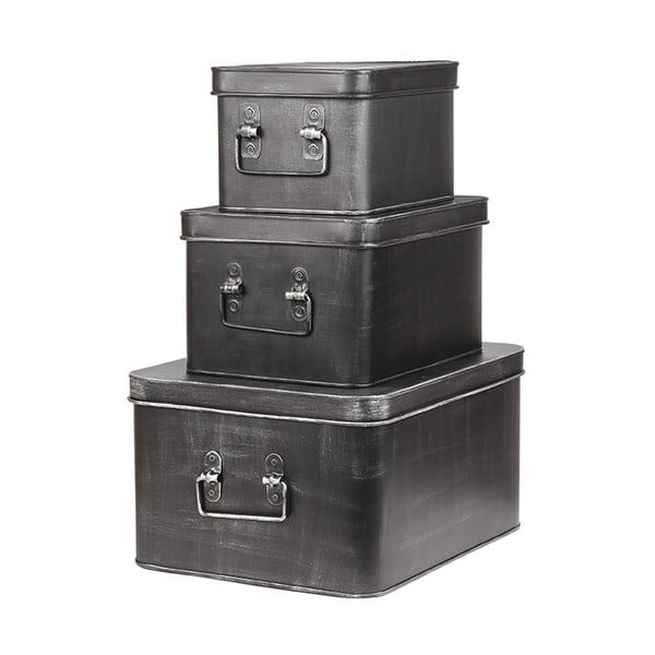 Čierny kovový úložný box LABEL51 Media, šírka 27 cm