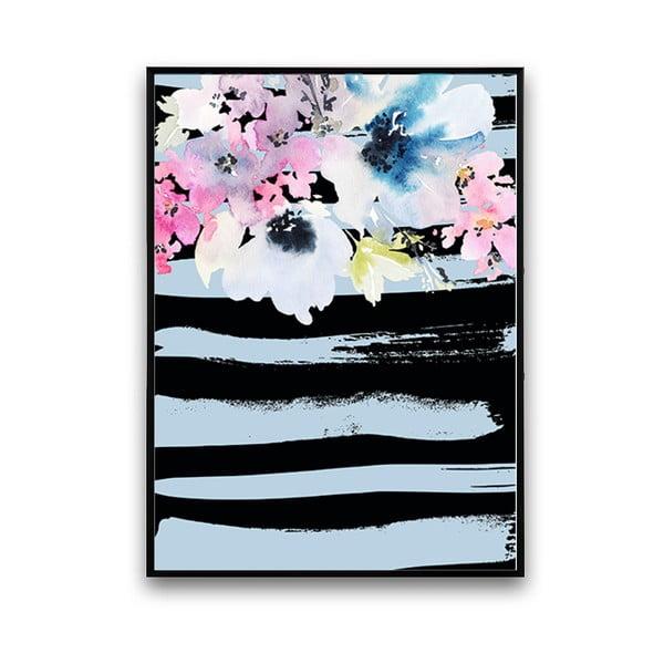 Plagát s kvetmi, čierno-modré pozadie, 30 x 40 cm