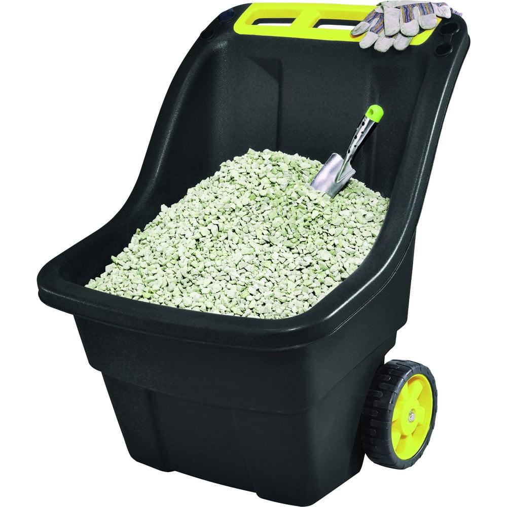 Čierny záhradný odpadkový kôš na kolieskach Keter Super, 150 l