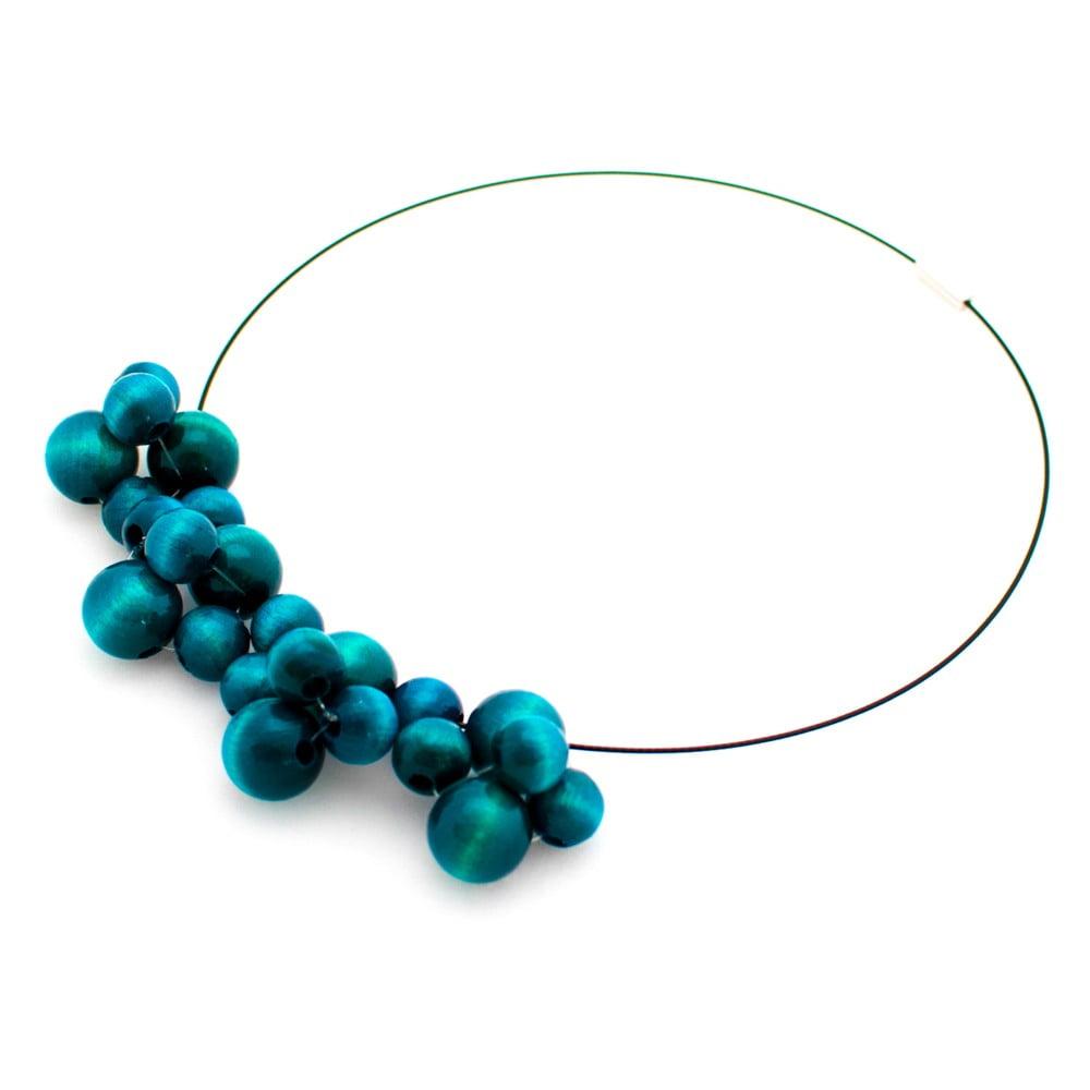 Tyrkysový drevený náhrdelník Ko–ra–le Bubbles