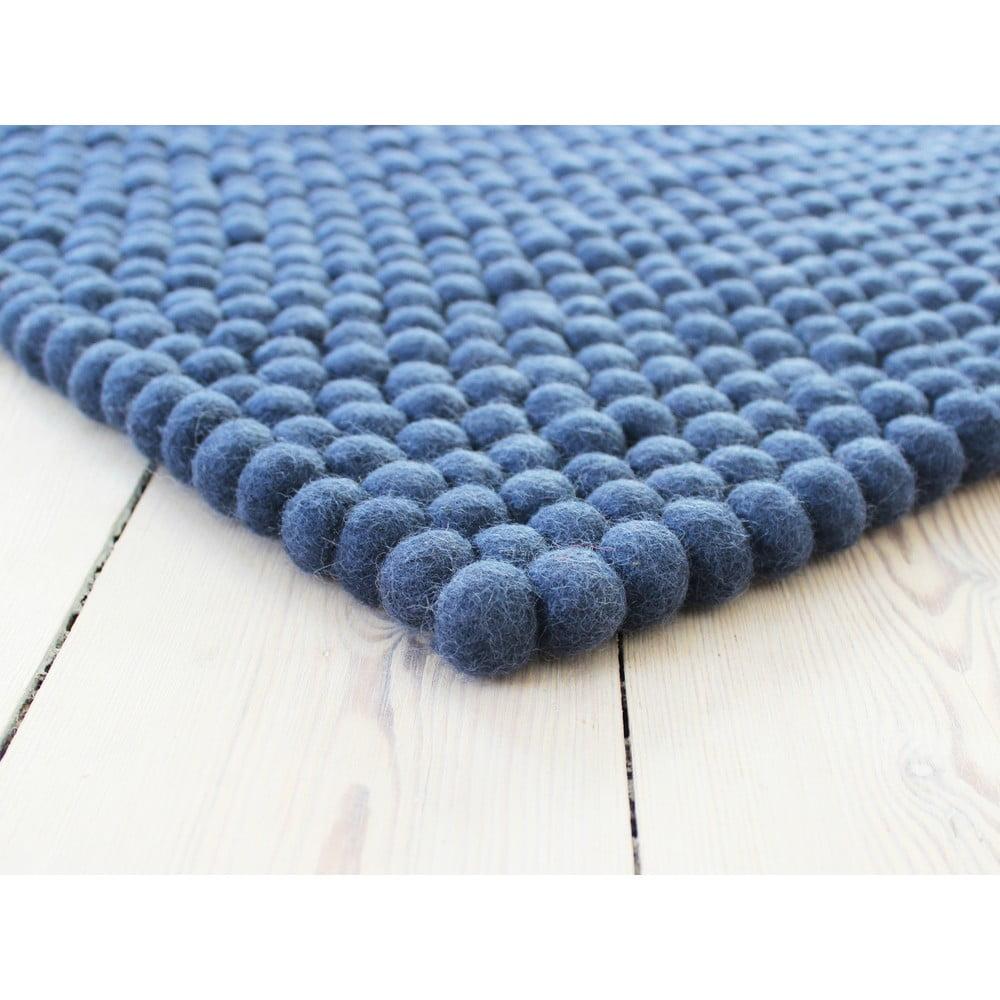 Modrý guľôčkový vlnený koberec Wooldot Ball rugs, 100 x 150 cm