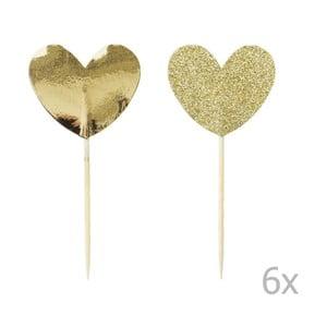 Sada 12 zapichovacích dekorácií na tortu Miss Étoile Gold Heart