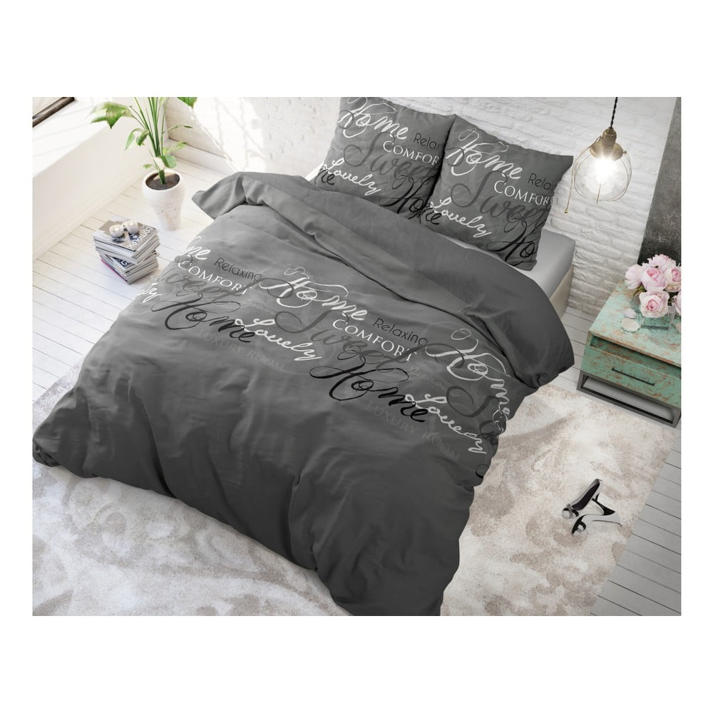 Sivé bavlnené obliečky na dvojlôžko Sleeptime Royal, 200 × 220 cm