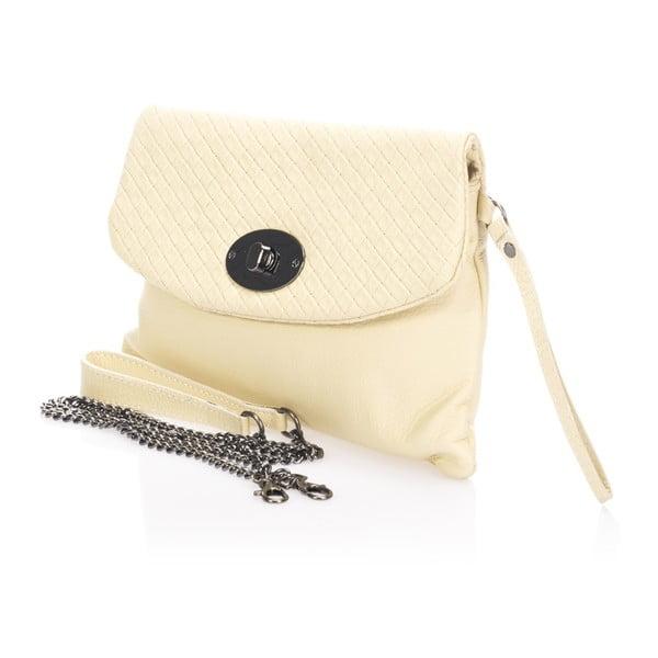 Béžová kožená listová kabelka Giulia Massari Medea