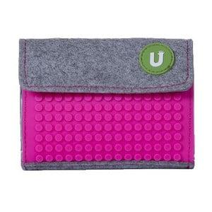 Pixelová peňaženka grey/fuchsia