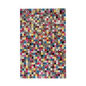 Farebný koberec z hovädzej kože Patchwork, 180 x 120 cm