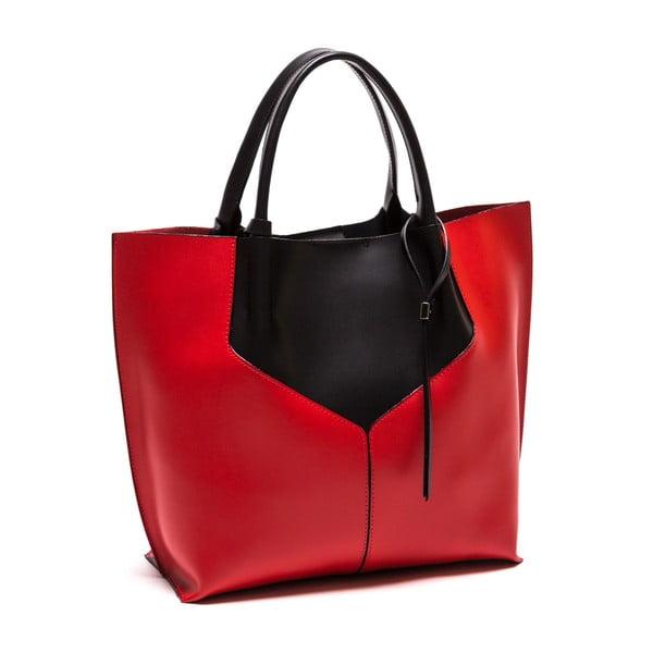 Kožená kabelka Anna Luchini 86 Nero Rosso