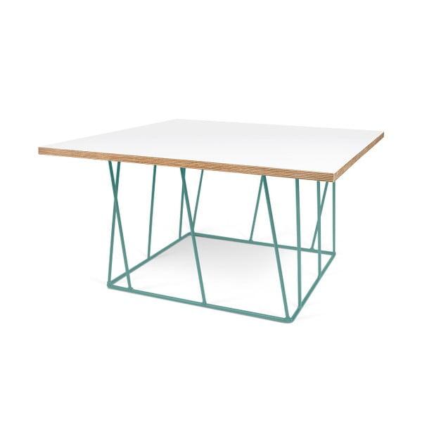 Biely konferenčný stolík so zelenými nohami TemaHome Helix,75cm