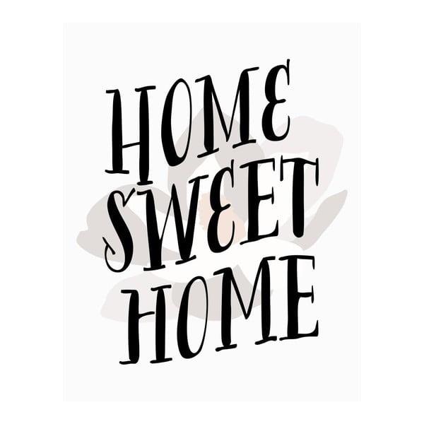 Plagát v drevenom ráme Home sweet home, 38x28 cm