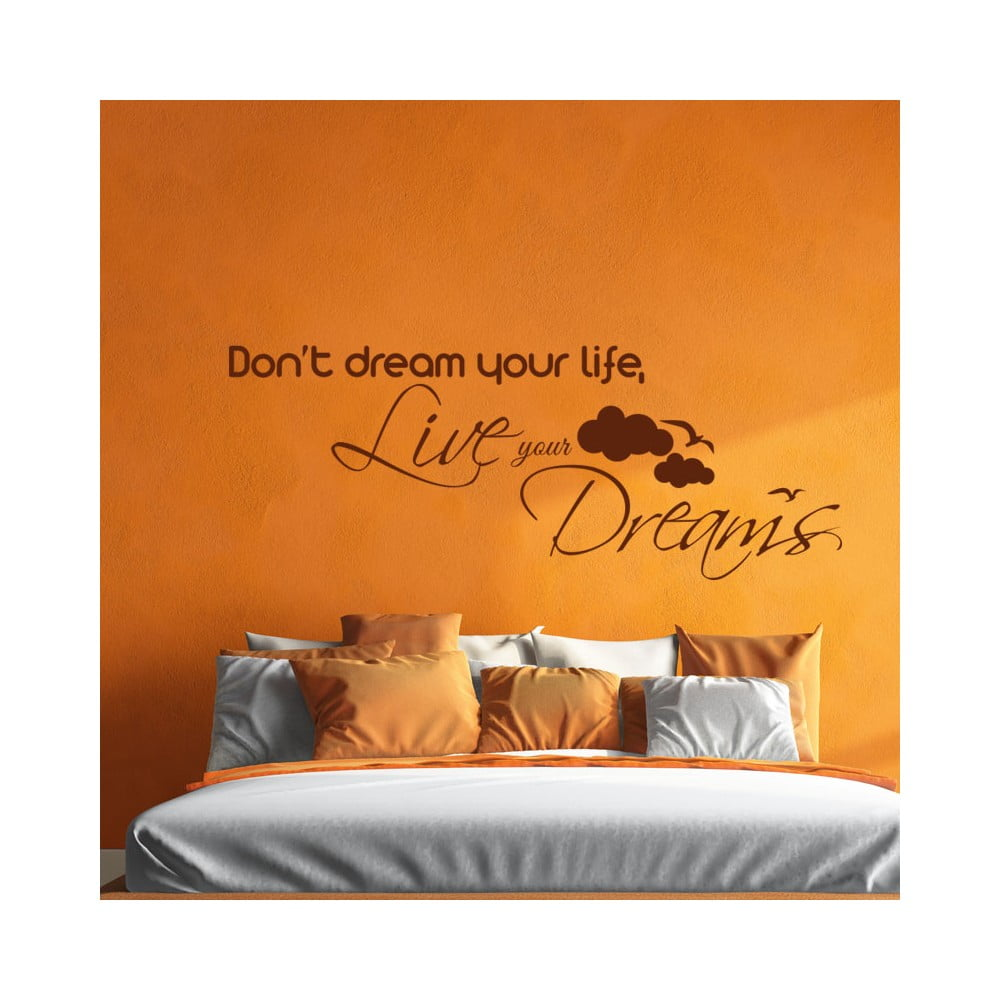 Čierna Nástenná samolepka Ambiance Live Your Dreams Wall Decal, 55 × 110 cm