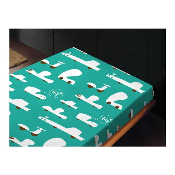 Neelastická posteľná plachta Autos Azul, 180x260 cm