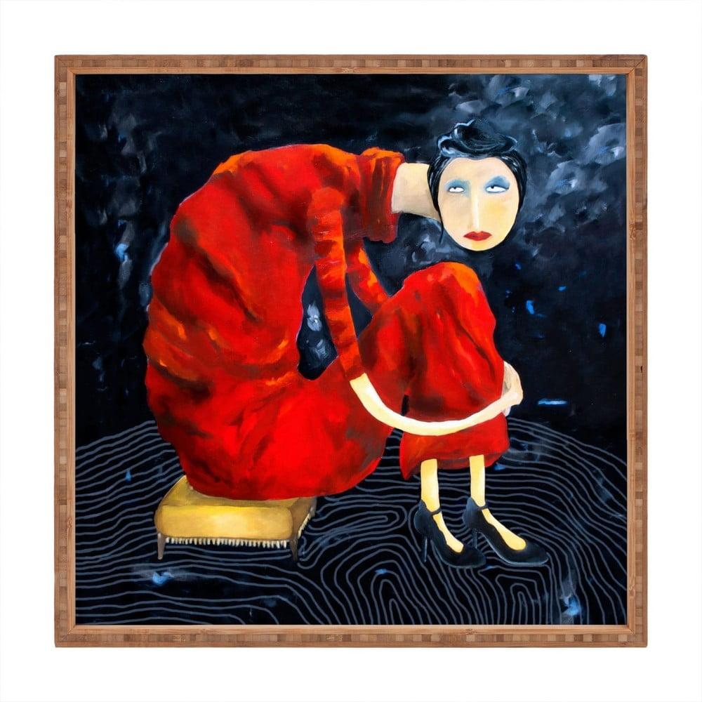 Drevený dekoratívny servírovací podnos Red Lady, 40 × 40 cm