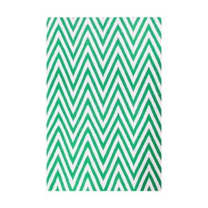 Vlnený koberec Zig Zag Green, 90x60 cm