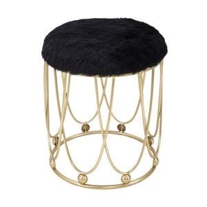 Čierna polstrovaná stolička s železnou konštrukciou v zlatej farbe Mauro Ferretti Amelia