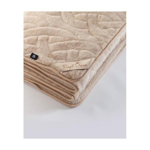 Vlnená hnedá deka Royal Dream Camel Lines, 160×200cm