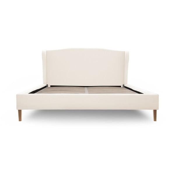 Krémová posteľ s prírodnými nohami Vivonita Windsor 180x200cm