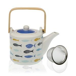Porcelánová kanvička so sitkom na čaj Versa Blue Bay